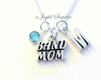 Band Mom Necklace, Gift for Musician's Mother Club, Silver Music Jewelry charm Initial Birthstone present Sterling 925 Canadian Seller Mum