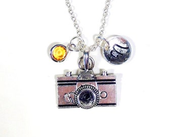 Camera Jewelry, Silver Camera Necklace, Gift for Photographer Film Photography initial birthstone Birthday present Christmas Pendant 187