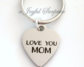 Love you mom Keyring, Gift for Mom Gift, Mum Key chain Mother's Day Gift Keychain, Purse Charm, Luggage Tag, Birthday Present, Unique gift