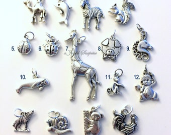Animal Charm, Add on to any of my listings 1 single Pendant, giraffe elephant owl ladybug pig unicorn dolphin monkey dog horse fox silver