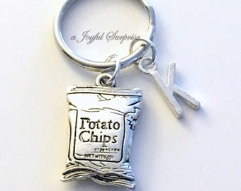 Potato Chip KeyChain, Chips Key Chain Junk Food Keyring Gift for Boyfriend Anniversary Husband Dad Father Birthday Christmas silver initial