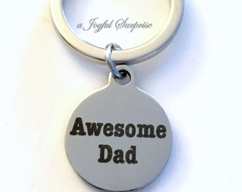 Dad KeyChain, Step Dad Keyring, Gift for Step Father Gift, Father in Law Keychain Awesome Dad Key Chain zipper pull luggage bag tag birthday