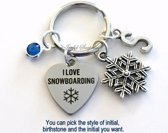 I love Snowboarding KeyChain Snow Boarder's Keyring Snowboard Key chain Gift Mom Personalized Initial Birthstone birthday present Christmas