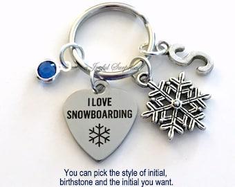 I love Snowboarding KeyChain Snow Boarder's Keyring Snowboard Key chain Gift Mom Personalized Initial Birthstone birthday present Christmas