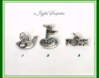 Golf Charm, Silver Golf Charm, Your choice Golf Club Head with Ball, Fore, Golf Flag, #1 Coach, Thank you Heart Charm 1 single Charm Add on