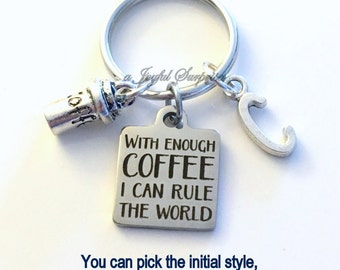 Funny Coworker Gift, With enough Coffee I can rule the World KeyChain Boss Key chain Personalized keyring Initial birthday Christmas present