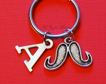 Moustache Keychain, Movember Key Chain, Gift for Grandfather Dad, Father's Day Present Santa's Mustache Keyring Initial Letter men man beard
