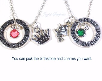 Wizard of OZ Necklace Set, Wicked the Musical Jewelry, Set of 2 BFF Gift Elphaba Galinda Glinda Birthstone There's no place like home circle
