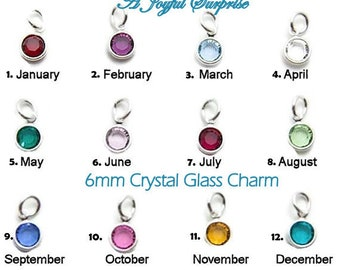 Birthstone Charm, Add on a 6mm birthstone to any listing, birthstone faceted crystal dangle bead