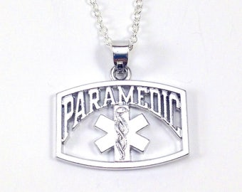 Paramedic Necklace, Gifts for Paramedics, Silver Charm Jewelry, EMT Pendant Thank you Rhodium plated Men Women Graduation Retirement him her