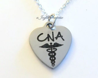 CNA Jewelry, CNA Necklace, Male Nurse Gift Certified Nursing Assistance Man Men Nurse's Charm birthday Christmas present stainless steel