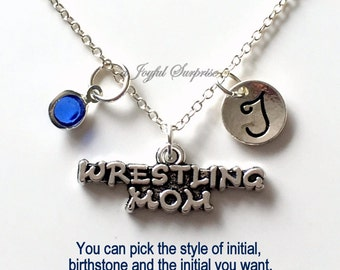 Wrestling Mom Necklace, Wrestler's Jewelry Mom Gift Mother Day Present Charm Personalized Initial Birthstone birthday gift Christmas present