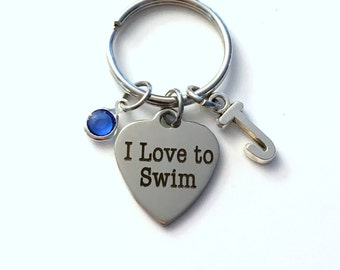 I love to Swim Keychain / Gift for Swimmer Key Chain / Athlete Synchronized