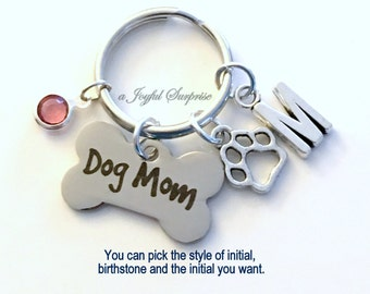 Dog Mom KeyChain Doggy Mom Keyring Dog Paw Print Charm Dog Breeder Key chain Personalized Initial Birthstone birthday present Fur Baby Gift