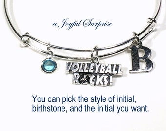 Volleyball Bracelet, Gift for Volleyball Player Gift, Volleyball Mom Jewlery, Silver Bracelet Bangle, Birthday Present, Volleyball Rocks