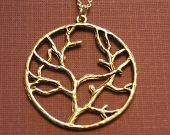 Tree of Life Necklace, large Tree Branch Jewelry, Branches Charm, Family Gifts, Statement Minimalist Long short chain silver, women her