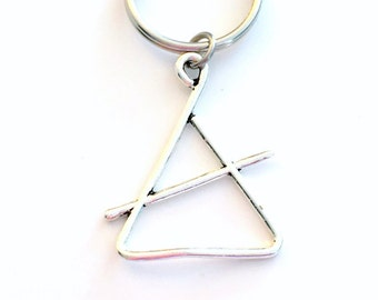 Triangle Key Chain, Band Instrument, Gift for Percussion Player Charm Keyring Silver KeyChain Jazz Musician Musical Music Instrument Rhythm
