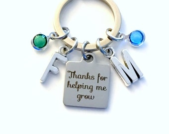 Thanks for helping me grow KeyChain, Gift for Nanny Key Chain, Au Pair Keyring, Multiple initial and birthstone 1 2 3 4 5 6 7 Kids Children