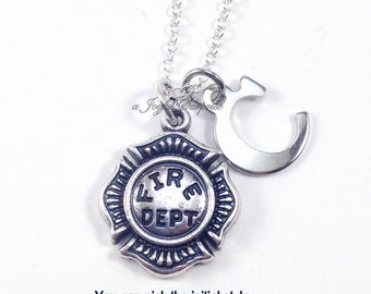 Gift for Fireman Present, Firefighter Necklace, Fire Dept. Emblem Firemen Silver Wife Chief Jewelry  Fire woman's with initial I love my 95