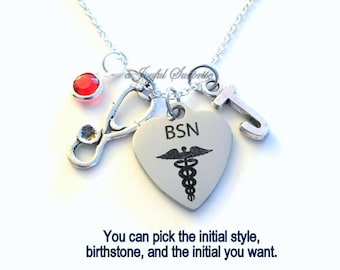 BSN Necklace, BSN Nurse Jewelry, Gift for Bachelor of Science in Nursing Student Silver Charm Personalized Custom Initial Birthstone her him