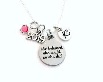 Graduation Gift for her Charm Necklace, 2019 Grad Jewelry, She Believed she could so she did Present Accomplishment silver her Retirement