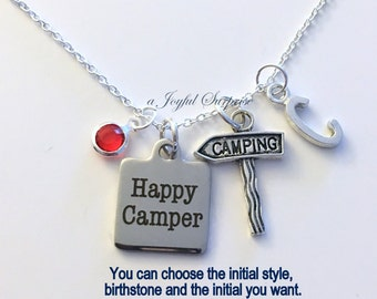 Happy Camper Necklace, Gift for Camping Jewelry Campground Friend RV Trailer Stake Sign Arrow Charm Custom Personalized Initial Birthstone