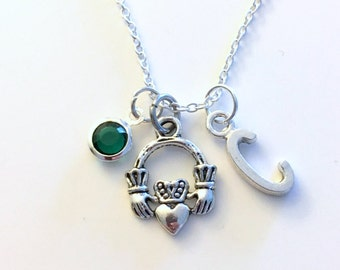 Silver Claddagh Necklace, Celtic Jewelry Circle Symbol Charm Irish Birthday Present Christmas Gift for woman Initial Birthstone Family Wife