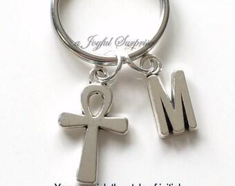 Ankh Keyring Small Ankh Cross KeyChain Ankh Key chain antico egitto Personalized Initial birthday present Christmas Gift religious symbol