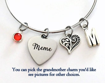 Meme Bracelet Gift for Mimi Grammy Nana Granny Grandmother Jewelry Charm Bangle Silver initial Birthstone Birthday Christmas letter heart