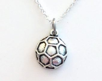 Soccer Ball Jewelry, Soccer Necklace, Silver Charm Pendant Gift for Teenage Girl Teen Sport Football birthday present team Athlete Man Men