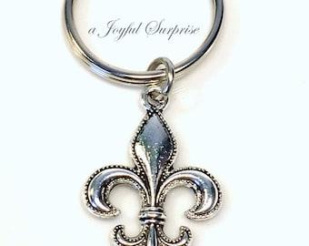 Fleur De Lis Key Chain, Fleur De Lys KeyChain, Fleur De Lis Best Friends Keyring, New Orleans Gift, French Acadian KeyChain, Louisiana purse