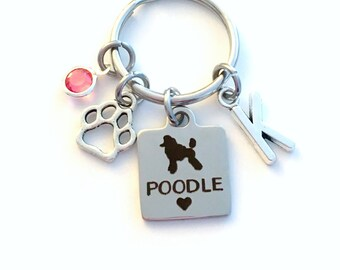 Poodle KeyChain Mini Breeder Key Chain Gift for Dog Mom Keyring Doggie Puppy Jewelry charm Silver Initial Birthstone present Man woman