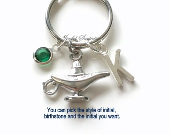 Genie Lamp KeyChain, Silver Fortune Keyring, Genie in a bottle Key chain Personalized Initial Birthstone birthday present Christmas Gift