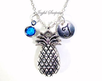 Pineapple Necklace, Pine Apple Jewelry, Silver TTC Gift, Fruit Charm Food Pendant, Hawaii Conception with initial birthstone Personalized