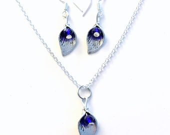 Gift for Bridal Party Jewelry Set, Sapphire Necklace and Earrings September Birthstone Birthday Present Blue Gem Crystal Bridesmaid leaf