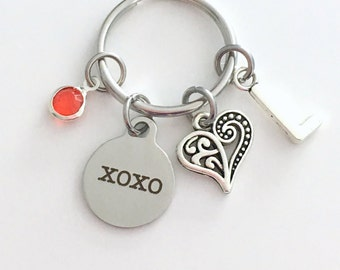 XOXO KeyChain Love Keyring, Gift for Girlfriend Fiance Wife Anniversary Daughter Key chain Jewelry Initial Birthstone birthday present niece