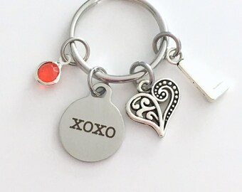 XOXO KeyChain Love Keyring, Gift for Girlfriend Fiance Wife Anniversary Daughter Key chain ring Initial Birthstone hugs and kisses present