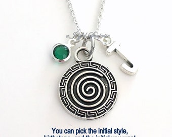 Swirl Spiral Necklace, Intuition Circle Jewelry, Silver Pinwheel charm Initial Birthstone birthday Present pewter pendant custom women her