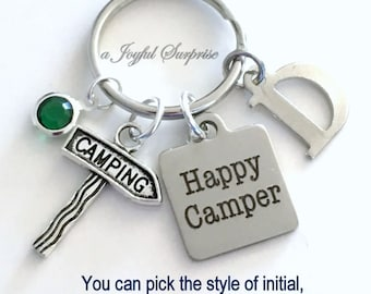 Happy Camper Keychain, Camping Key Chain, Gift for Camper Campground Friend, Staked sign Keyring Custom Initial Personalized RV Trailer