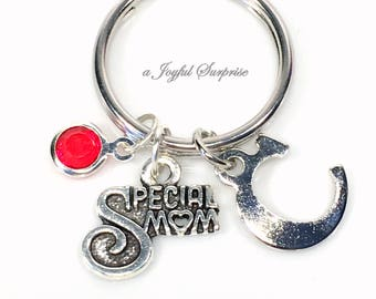Stepmother's Keychain, Special Mom Keyring, Silver Gift for Mother present Key chain, Step in Law Letter Charm Personalized custom new baby