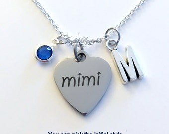 Mimi Necklace, Mimi Jewelry, Grandmother Gift for Christmas charm Initial Birthstone birthday present stainless steel engraved custom her