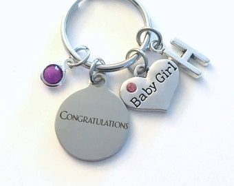Gift for New Dad Mom KeyChain, Father of Baby Girl Key Chain, Mother Keyring Jewelry charm Initial Birthstone present women Congratulations