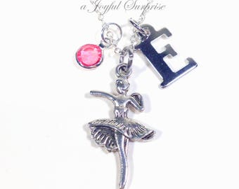 Dancer's Necklace, Gift for Ballerina Silver Ballet Jewelry, Dance Recital Present Birthday initial birthstone Teenage Girl Teen Teenager