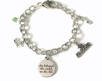 She believed she could so she did bracelet, 2018 Graduation Gift Grad Jewelry Charm Chain Link Silver initial birthstone 2019 lobster teen