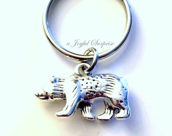 Bear Key Chain Animal Keychain Conservationist Black Brown Keyring Jewelry charm Gift for Zoologists present Zoo Teenage Boy Man Teen Men
