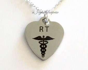 RT Necklace, Respiratory Therapist Jewelry, Gift for Respiration therapy Nurse Graduation Gift Man Men Woman birthday Christmas present