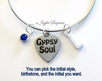 Gypsy Soul Bracelet, Gift for Best Friend Gypsies Jewelry Charm Adjustable Bangle Silver initial Birthstone Birthday Present Gpysy Gift