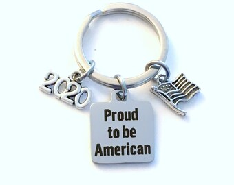 Gift for Immigration Ceremony Keychain, New Citizen Key chain, Proud to be American keyring, 2020 USA Present silver Flag Charm him men man