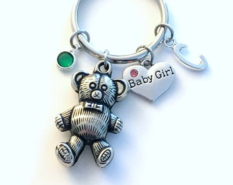 Gift for New Grandfather or Grandmother KeyChain, Father of Baby Girl Key Chain, Mother Keyring, New Baby present Mom Dad Teddy Bear