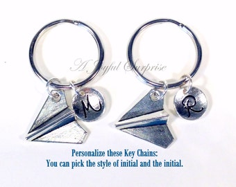 Set of 2 Best Friend Keychain, Paper Plane Key Chain, Groomsman Gift, Airplane Keyring Gift for BFF Friends Silver Plane Charm boy men girl